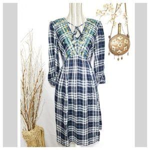 DB Boho Country Plaid embroidered slip shift dress